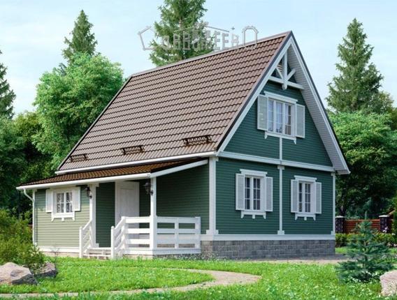 Дом из бруса с мансардой Э-09