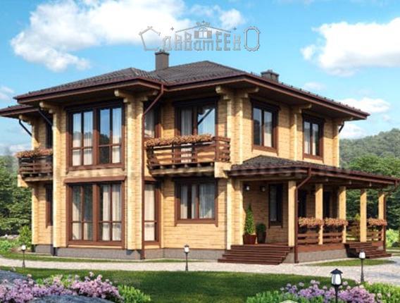 Дом из бруса с мансардой Б-128