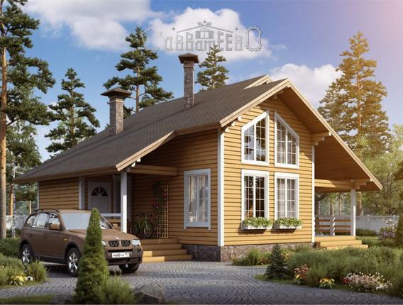 Дом из бруса с мансардой Б-129