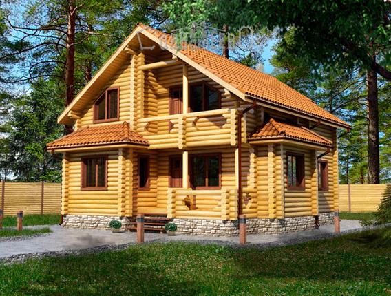 Дом из бруса с мансардой Б-106