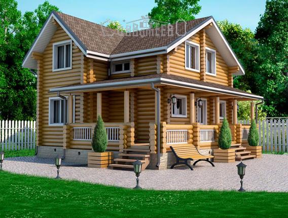 Дом из бруса с мансардой Б-116