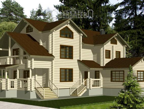 Дом бревна О-307