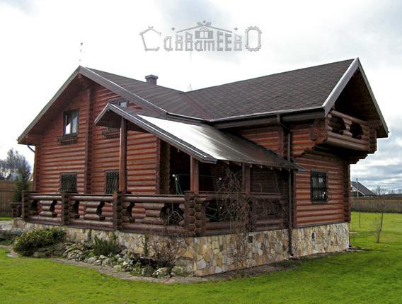 Дом из бревна с мансардой О-218