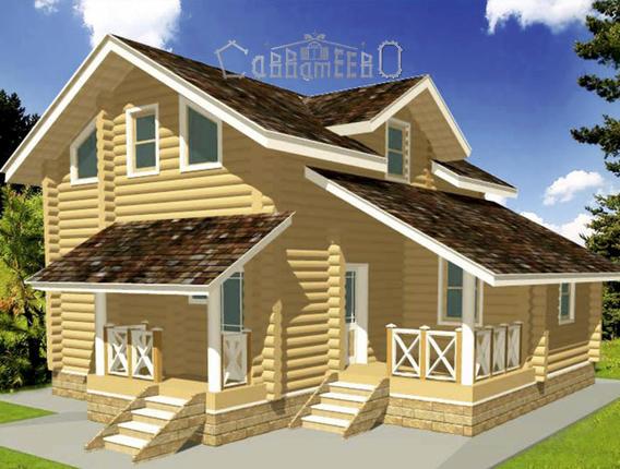 Дом из оцилиндрованного бревна с мансардой О-105