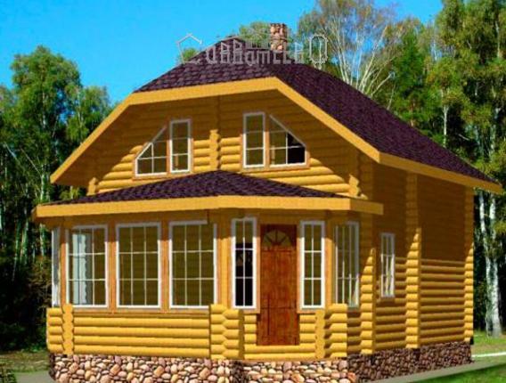 Дом из оцилиндрованного бревна с мансардой Э-12