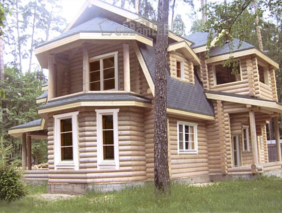 Дом из оцилиндрованного бревна с мансардой О-308