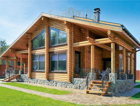 Дом из бревна с мансардой О-401