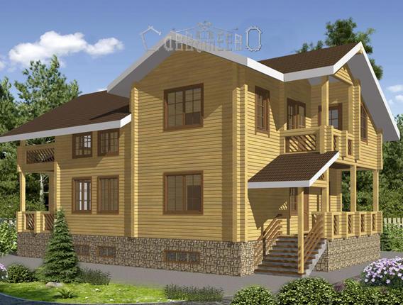 Двухэтажный дом из остроганного бруса Б-244