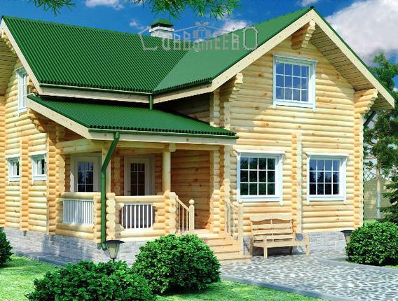 Дом из бревна с мансардой О-103