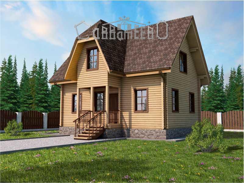 Дачный дом из бруса с мансардой 7,5 на 8,8  Э-05