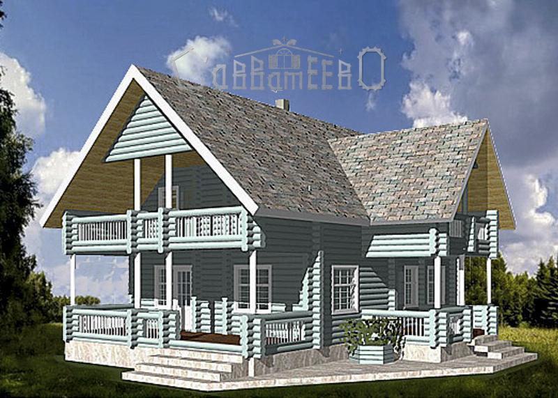 Дом из бревна с мансардой О-214