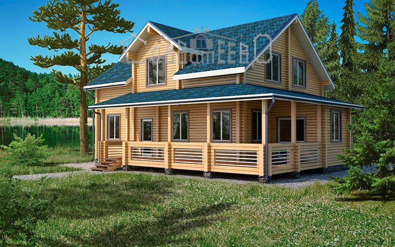 Дом из бруса с мансардой Б-210