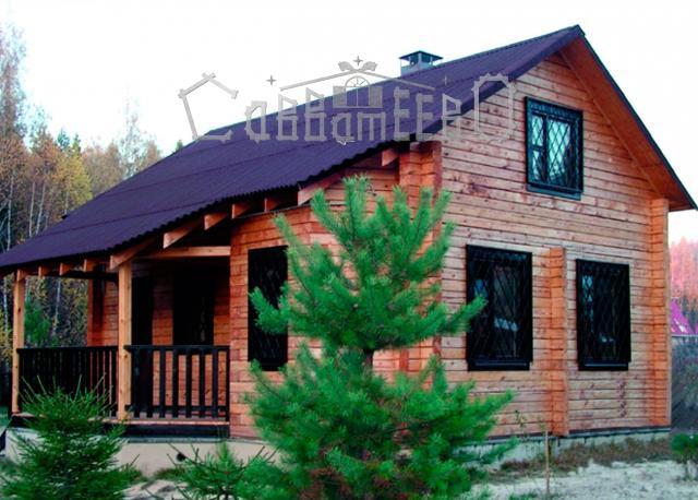 Дом из профилированного бруса 7,8х8,5 с мансардой Э-07