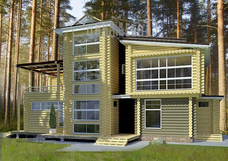 Дом из оцилиндрованного бревна О-205