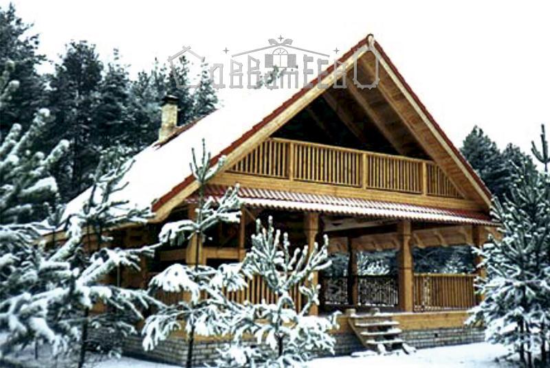 Дом из оцилиндрованного бревна с мансардой О-107