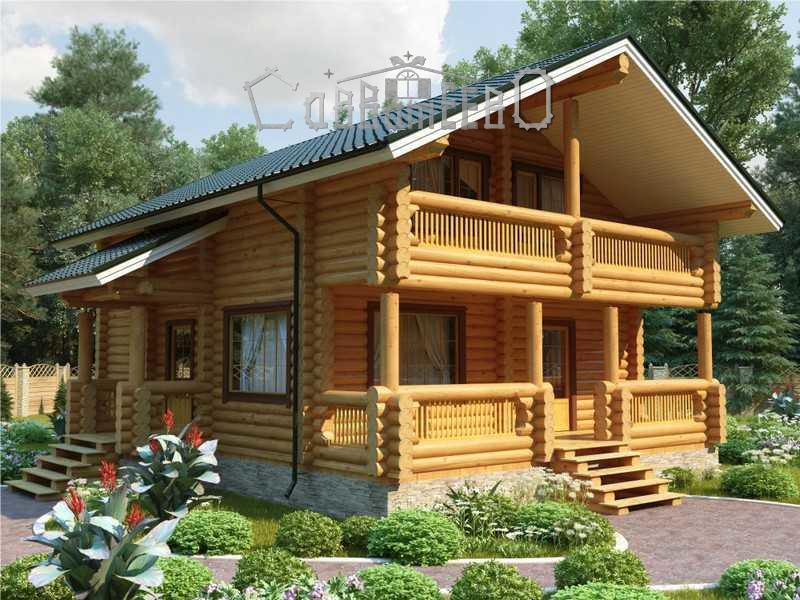 Дом из бревна с мансардой О-102